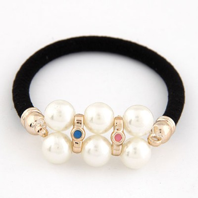 Lariat Multicolor Two Row Pearl Decorated Design Alloy Hair band hair hoop