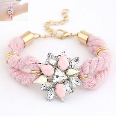 Physical Pink Gemstone Decorated Flower Design Alloy Korean Fashion Bracelet