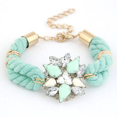 Rubber Blue Gemstone Decorated Flower Design Alloy Korean Fashion Bracelet