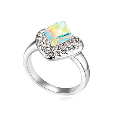 Propper Color White Heart Shape Design Austrian Crystal Crystal Rings