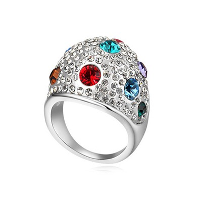Jockey Multicolor Full Of Diamond Wide Surface Design Austrian Crystal Crystal Rings