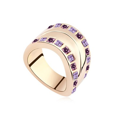 Rent Light Purple&Rose Gold Two Row Diamond Decorated Water Drop Shape Austrian Crystal Crystal Rings