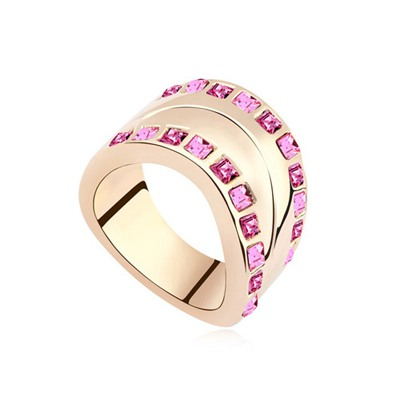 Barbie Plum Red&Rose Gold Two Row Diamond Decorated Water Drop Shape Austrian Crystal Crystal Rings