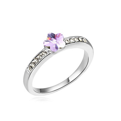 Luxury Violet Small Flower Decorated Austrian Crystal Crystal Rings