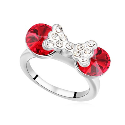 Chiropract Light Red Diamond Decorated Bowknot Design Austrian Crystal Crystal Rings
