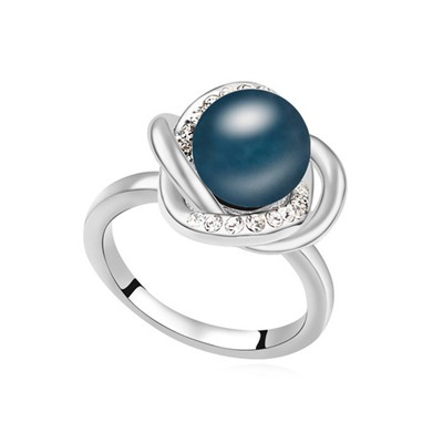 Faux Dark Blue Simple Design Pearl Crystal Rings