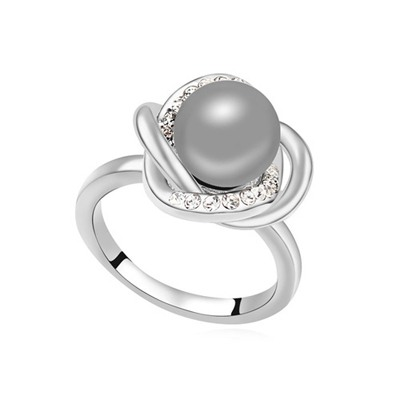 2013 Dark Gray Simple Design Pearl Crystal Rings