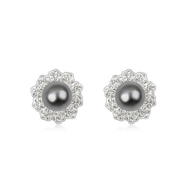 Winding Dark Gray Elegant Flower Shape Design Pearl Crystal Earrings
