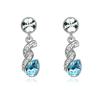 Attractive Navy Blue Water Drop Shape Gemstone Design Austrian Crystal Crystal Earrings