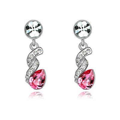 Business Plum Red Water Drop Shape Gemstone Design Austrian Crystal Crystal Earrings