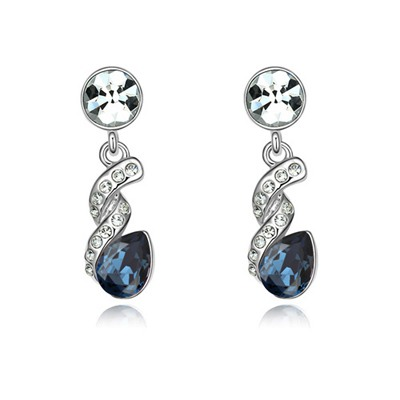 Twilight Ink Blue Water Drop Shape Gemstone Design Austrian Crystal Crystal Earrings