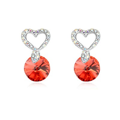 Famale Padparadscha Hollow Out Heart Decorated Design Austrian Crystal Crystal Earrings