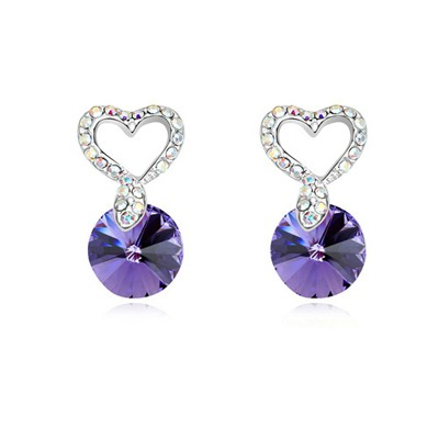 Splendid Tanzanite Hollow Out Heart Decorated Design Austrian Crystal Crystal Earrings