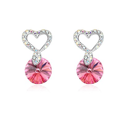 Stretch Plum Red Hollow Out Heart Decorated Design Austrian Crystal Crystal Earrings