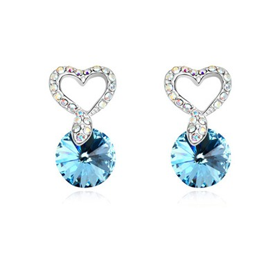 Celtic Navy Blue Hollow Out Heart Decorated Design Austrian Crystal Crystal Earrings