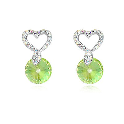 Ladies Luminous Green Hollow Out Heart Decorated Design Austrian Crystal Crystal Earrings