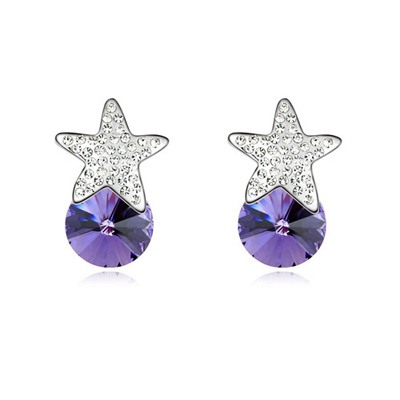Bendable Tanzanite Five-Pointed Star Decorated Austrian Crystal Crystal Earrings