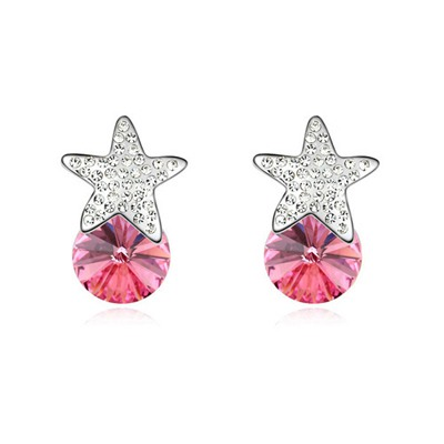 Sparrow Plum Red Five-Pointed Star Decorated Austrian Crystal Crystal Earrings