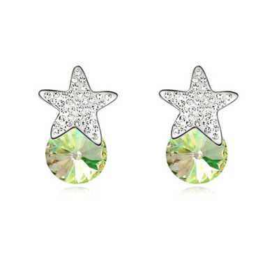 Fall Luminous Green Five-Pointed Star Decorated Austrian Crystal Crystal Earrings