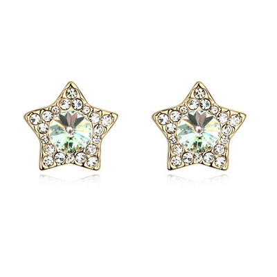 Beaded White&Champagne Gold With Diamond Star Shape Design Austrian Crystal Crystal Earrings