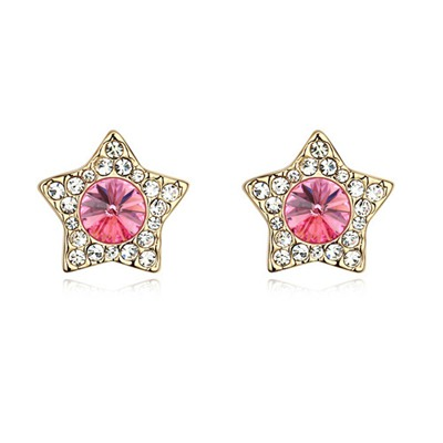 Little Plum Red&Champagne Gold With Diamond Star Shape Design Austrian Crystal Crystal Earrings