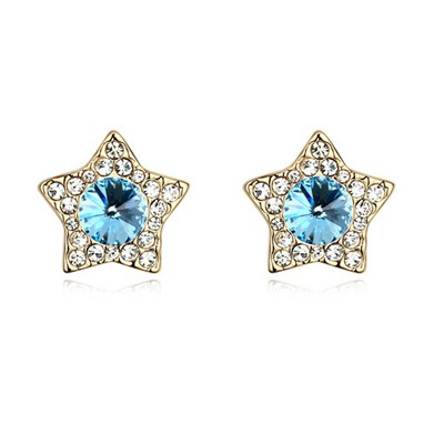 Native Navy Blue&Champagne Gold With Diamond Star Shape Design Austrian Crystal Crystal Earrings