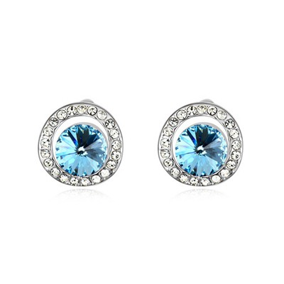 Mexican Navy Blue Round Shape With Diamond Design Austrian Crystal Crystal Earrings
