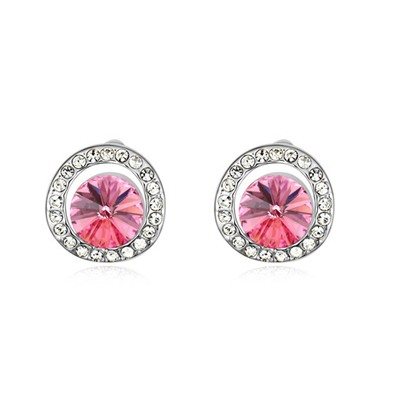 Cheerleadi Plum Red Round Shape With Diamond Design Austrian Crystal Crystal Earrings