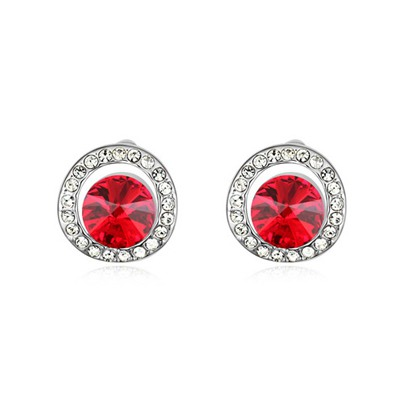 Timeless Light Red Round Shape With Diamond Design Austrian Crystal Crystal Earrings