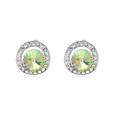 Mink Luminous Green Round Shape With Diamond Design Austrian Crystal Crystal Earrings