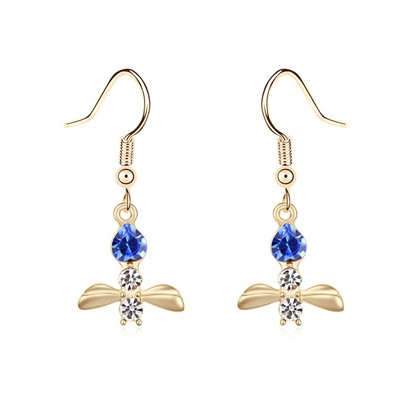 Baptism Blue&Champagne Gold Bee Shape Pendant Design Austrian Crystal Crystal Earrings