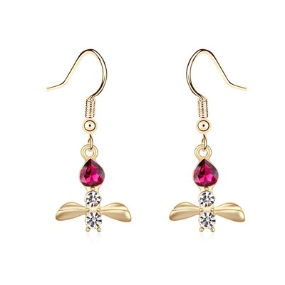 Micro Purplish Red&Champagne Gold Bee Shape Pendant Design Austrian Crystal Crystal Earrings