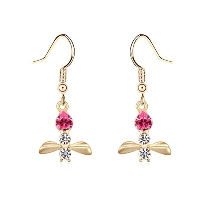 Doggie Plum Red&Champagne Gold Bee Shape Pendant Design Austrian Crystal Crystal Earrings