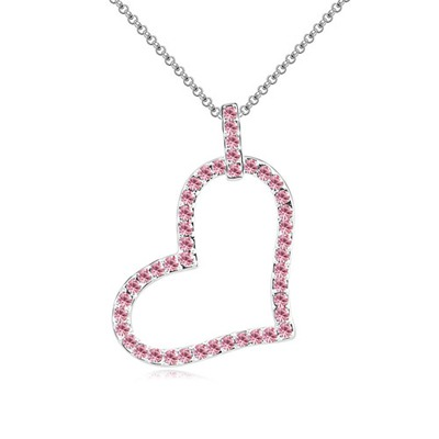 Customized Light Plum Red Heart Shape Pendant Design Austrian Crystal Crystal Necklaces