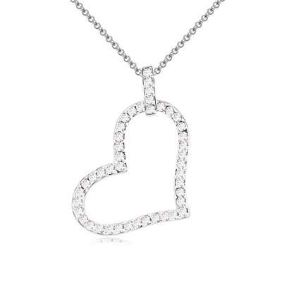 Tie White Heart Shape Pendant Design Austrian Crystal Crystal Necklaces