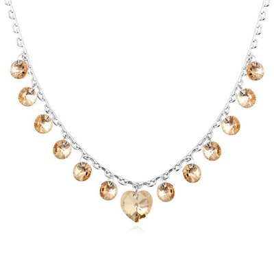 Pentacle Gold Color Elegant Heart Shape Decorated Austrian Crystal Crystal Necklaces