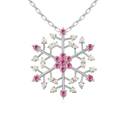 Pendants Plum Red Hollow Out Snowflake Pendant Austrian Crystal Crystal Necklaces