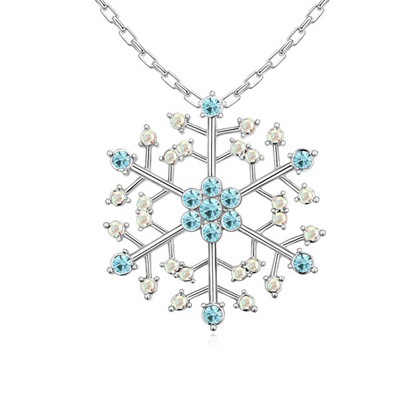 Pagan Navy Blue Hollow Out Snowflake Pendant Austrian Crystal Crystal Necklaces