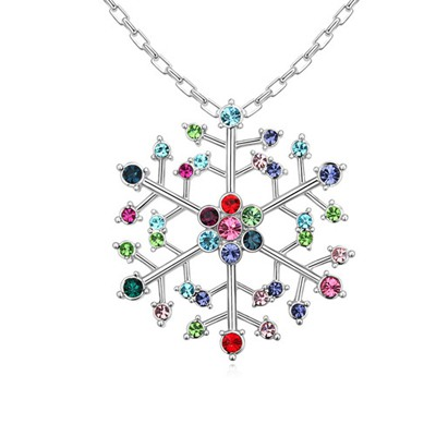 Memorable Multicolor Hollow Out Snowflake Pendant Austrian Crystal Crystal Necklaces