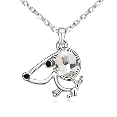 Modern White Lucky Dog Pendant Austrian Crystal Crystal Necklaces