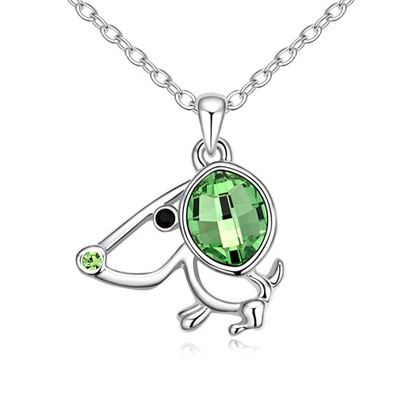 Petite Olive Lucky Dog Pendant Austrian Crystal Crystal Necklaces