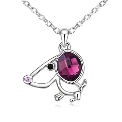 Circle Purple Lucky Dog Pendant Austrian Crystal Crystal Necklaces