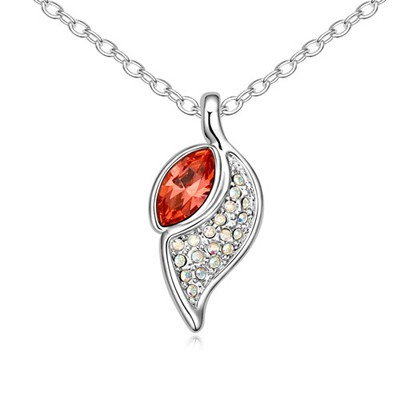 Stylish Padparadscha Leaf Shape Pendant Design Austrian Crystal Crystal Necklaces