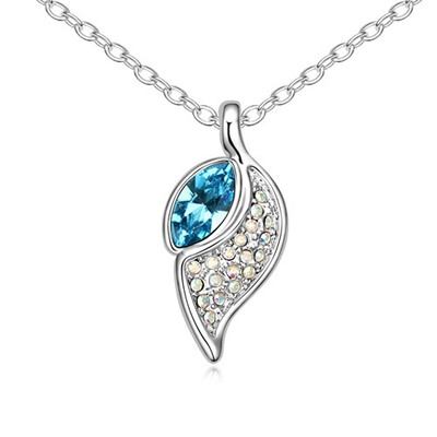 Costume Navy Blue Leaf Shape Pendant Design Austrian Crystal Crystal Necklaces
