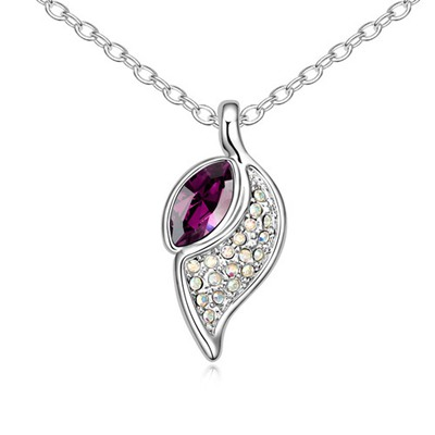 Rugged Purple Leaf Shape Pendant Design Austrian Crystal Crystal Necklaces