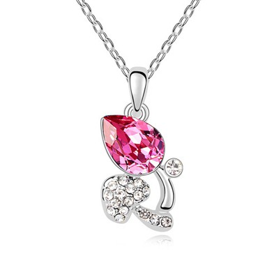 Sparking Plum Red Full Of Diamond Mushroom Pendant Austrian Crystal Crystal Necklaces