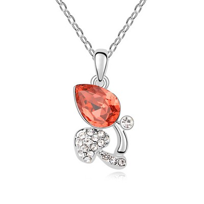 Extra Padparadscha Full Of Diamond Mushroom Pendant Austrian Crystal Crystal Necklaces