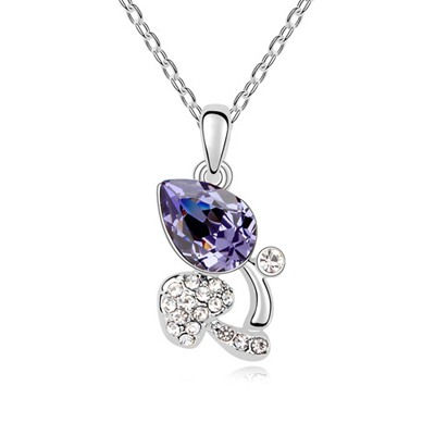 Skeleton Tanzanite Full Of Diamond Mushroom Pendant Austrian Crystal Crystal Necklaces