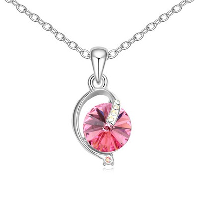 Revealing Plum Red Simple Design Austrian Crystal Crystal Necklaces