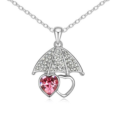 Monogram Plum Red Lover Umbrella Pendant Design Austrian Crystal Crystal Necklaces